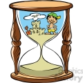 cartoon hourglass with sand castle on beach