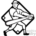 black and white baseball player batting side low diamond