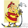 cartoon firefighter with water hose