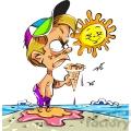cartoon boy on beach with melting ice cream cone