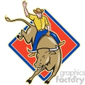 rodeo cowboy bull riding front DIA