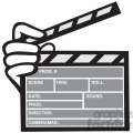black and white movie clapboard front hand