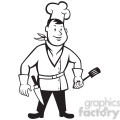 black and white chef standing front spatula 001  gif, png, jpg, eps, svg, pdf