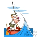 cartoon fisherman who hooked a wave