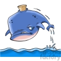 cartoon whale with cork stuck in it