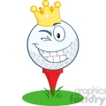 5713 Royalty Free Clip Art Happy Golf Ball Cartoon Character With Gold Crown Winking