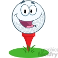 5702 royalty free clip art happy golf ball cartoon mascot character over tee  gif, png, jpg, eps, svg, pdf
