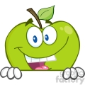 5781 Royalty Free Clip Art Smiling Green Apple Hiding Behind A Sign