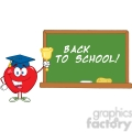 5792 Royalty Free Clip Art Smiling Apple Character Ringing A Bell For Back To School In Front Of Chalkboard With Text