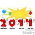 5667 Royalty Free Clip Art 2014 Year Cartoon Character With Stars And Balloons