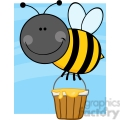 5605 Royalty Free Clip Art Smiling Bee Flying With A Honey Bucket