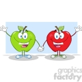 5756 Royalty Free Clip Art Smiling Red And Green Apples Waving For Greeting