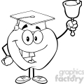5963 Royalty Free Clip Art Smiling Character Ringing A Bell For Back To School