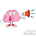 5848 Royalty Free Clip Art Angry Brain Cartoon Character Screaming Into Megaphone