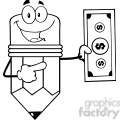 5925 Royalty Free Clip Art Pencil Cartoon Character Showing A Dollar Bill