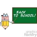 5884 Royalty Free Clip Art Smiling Pencil Teacher Character With A Pointer In Front Of Chalkboard