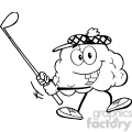 5991 royalty free clip art smiling brain cartoon character swinging a golf club 2  gif, png, jpg, eps, svg, pdf