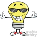 Royalty Free Clip Art Smiling Light Bulb With Sunglasses Giving A Double Thumbs Up
