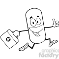 6295 Royalty Free Clip Art Black and White Pill Capsule Cartoon Mascot Character Running With A Medicine Bag