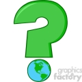 6251 Royalty Free Clip Art Cartoon Green Question Mark With World Globe