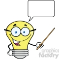 6167 Royalty Free Clip Art Smiling Light Bulb Character With A Pointer And Speech Bubble