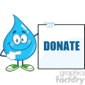 6216 Royalty Free Clip Art Water Drop Cartoon Mascot Character Showing A Blank Sign With Text