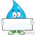 6208 Royalty Free Clip Art Water Drop Cartoon Mascot Character Holding A Banner