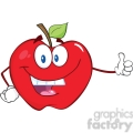 6514 Royalty Free Clip Art Smiling Apple Cartoon Mascot Character Holding A Thumb Up