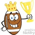 6586 royalty free clip art american football ball cartoon character with golden crown holding first prize trophy cup