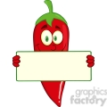 6774 Royalty Free Clip Art Smiling Red Chili Pepper Cartoon Mascot Character Holding A Banner