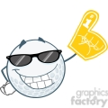 6496 Royalty Free Clip Art Smiling Golf Ball With Sunglasses And Foam Finger