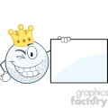 6500 Royalty Free Clip Art Winking Golf Ball With Gold Crown Showing A Sign
