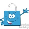 6724 Royalty Free Clip Art Smiling Blue Shopping Bag Cartoon Mascot Character Waving For Greeting