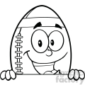 6581 Royalty Free Clip Art Black and White American Football Ball Cartoon Mascot Character Over Blank Sign