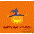 6612 Royalty Free Clip Art Scaring Halloween Pumpkin With A Witch Hat And Sign