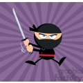 Royalty Free RF Clipart Illustration Angry Ninja Warrior Jumping With Katana Flat Design Over Purple Background