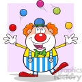 Funny Clown Cartoon Character Juggling With Balls with pink background