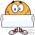 royalty free rf clipart illustration smiling basketball cartoon character holding a banner  gif, png, jpg, eps, svg, pdf