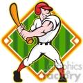baseball player batting side baseball diamond