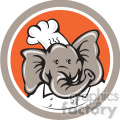elephant head chef in circle shape