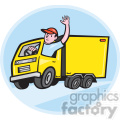 delivery truck driver waving shape