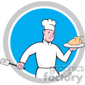 chef holding chicken front in circle shape