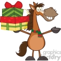 6877_Royalty_Free_Clip_Art_Smiling_Horse_Cartoon_Mascot_Character_Holding_Up_A_Stack_Of_Gifts