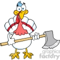 White Turkey With Axe Cartoon Mascot Character