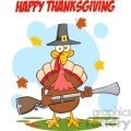 6904_Royalty_Free_Clip_Art_Pilgrim_Turkey_Bird_Cartoon_Character_With_A_Musket