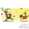 6899_Royalty_Free_Clip_Art_Angry_Pilgrim_Chasing_With_Axe_A_Turkey