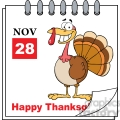Royalty Free RF Clipart Illustration Thanksgiving Holiday Calendar With Cartoon Turkey