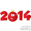 7006 Royalty Free RF Clipart Illustration 2014 Year With Cartoon Red Christmas Ball