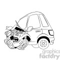 cartoon car sick from accident black and white