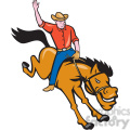 rodeo cowboy riding bucking bronco ISO